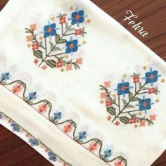 This Pin was discovered by Ays Cross Stitch Embroidery, Embroidery Patterns, Hand Embroidery, Cross Stitch Patterns, Hobbies And Crafts, Diy And Crafts, Fabric Paint Designs, Hem Stitch, Palestinian Embroidery