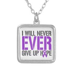 Pancreatic Cancer I Will Never Ever Give Up Hope Personalized Necklace by www.giftsforawareness.com