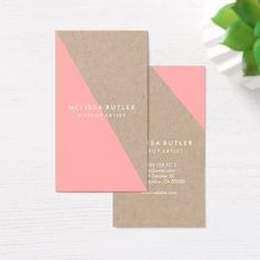 #rustic - #Light Pink and Rustic Kraft Geometric Business Card