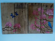 Hey, I found this really awesome Etsy listing at https://www.etsy.com/listing/252841596/bluebirds-butterflies-blossoms-pallet
