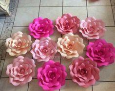 Digital plantilla estilo 4 rosa flores de por PaperBloomsByFraniB