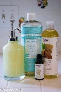 DIY Face and Body wash Jasmine Natural Face and Body Wash 8 oz Dr. Bonner's Baby-Mild Castille Soap 8 oz distilled water 1 TB Almond oil 20 drops jasmine fragrance 10 drops geranium essential oil I read that this is a great all purpose face and body wash. It even removes makeup. All natural products used and good for those with skin allergies………… Source: http://www.adornedfromabove.com/2012/05/1st-adorned-from-above-blog-hop-and.html