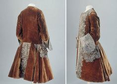 Frockcoat, France, 1710, velvet and silver embroidery lace to front, pockets and center rear panel of skirts. Possible detachable upturned cuffs in contrasting silver/grey velvet.