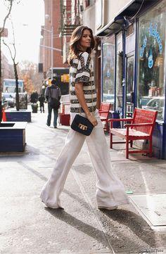 Adoro pantalonas, especialmente em mulheres altas. Mas isso não significa que eu também não use, viu?! Fotos: Reprodução