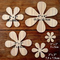 Fantastic Set Of 5 Different Sized Hand Crafted MDF 'Flower' Drawing Templates (Style 3) - FREE SHIPPING!