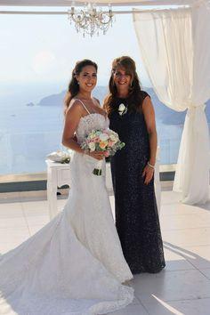 Jennifer & Mother Le CIEL Santorini Wedding planners #simplymediterraneanweddings.co.uk