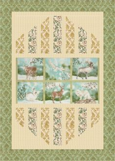 """Reflections"" quilt designed by Mountainpeek Creations. Features Winter White and Quilter's Linen Metallic. Forest colorstory."