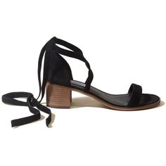 Hollister Steve Madden RIZZAA Sandal (4.490 RUB) ❤ liked on Polyvore featuring shoes, sandals, black, black mid heel sandals, ankle strap shoes, mid-heel sandals, block heel sandals and block heel shoes