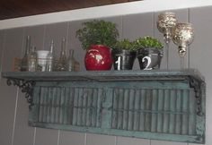 Lisa H gets credit for taking this vintage shutter and creating a great shelf with it! diy-projects