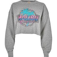 Grey marl 'Malibu' print cropped sweatshirt - hoodies / sweatshirts - tops - women
