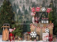 If you are looking for a holiday photo session may I recommend this hot cocoa stand? Most of the props are printed on the backdrop, but the crate and accessories in the front are all part of my collection- so everything you see is available for your use! Family Christmas Pictures, Christmas Tree Farm, Christmas Minis, Outdoor Christmas, Family Pictures, Xmas, Christmas Photo Booth, Christmas Backdrops, Christmas Photography Backdrops