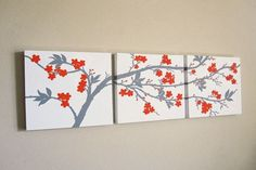 Wall Art Ideas Design : Cherry Blossoms 3 Canvas Wall Art Orange Flowers Unique Original Painting Triptych Wooden Media Board Painted Top 3 canvas wall art set Canvas Art For Home. 3 Part Canvas Art. Three Canvas Painting, 3 Canvas Paintings, Diy Canvas Art, 3 Piece Canvas Art, Canvas Ideas, Animal Paintings, Simple Wall Art, Diy Wall Art, Wall Art Sets