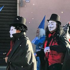 A cool scene from yesterday's #carnevale here in #tuscania. Anonymous making an appearance apparently!  #fun #party #italy #happy #friends #travel #travelgram #love #instagood #instagram #smile #instadaily #igers #viterbo #lazio #rome