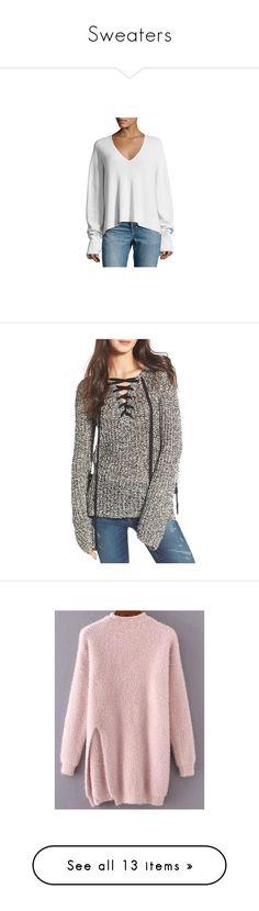 """""""Sweaters"""" by solonora ❤ liked on Polyvore featuring tops, sweaters, light gray, v neck sweater, long sleeve v neck sweater, long sleeve sweater, v-neck sweater, v neck pullover sweater, lace front sweater and lace-up tops"""