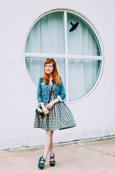 Black and white checked dress + denim jacket + bright shoes,   The Clothes Horse