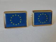 European Union Flag Cufflinks by LoudCufflinks on Etsy, $25.00