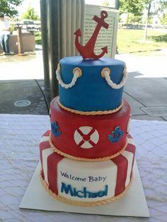 Daisy 's Anchor nautical baby shower cake