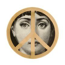 """Fornasetti Theme & Variations Decorative """"Peace Sign"""" Plate"""