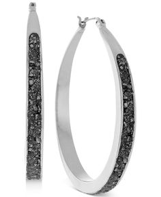 BCBGeneration Silver-tone Crushed Pyrite Small Hoop Earrings