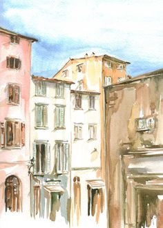 Italian Street Original Watercolor Print by ArtbyOlgaPhelps, $10.00