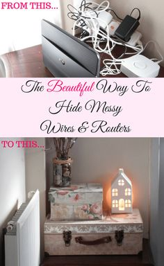Hide messy wires with this simple diy hack that looks beautiful. No need for ugly trunking or DIY skills, use this organization hack to hide messy wires Diy Home Decor Easy, Home Decor Hacks, Handmade Home Decor, Cheap Home Decor, Upcycled Home Decor, Decor Crafts, Furniture Makeover, Diy Furniture, Origami Furniture