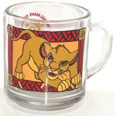 Disney Lion King Simba Glass Coffee Mug Cup Vintage  #Disney