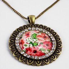 Collier bronze médaillon strass cabochon fleuri rose vert