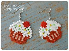 Cupcake Earrings hama perler by Rose comme le ciel