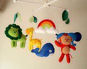 "Baby crib mobile, forest mobile, animal mobile , felt mobile ""My Favorite Animals 3-""Lion, Whale, Girrafe, Elephant, Monkey"""