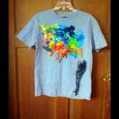 Creative art T-shirt Such a cool looking shirt and comfy- has faded blemish but might come off in washer or cleaners Tops Tees - Short Sleeve