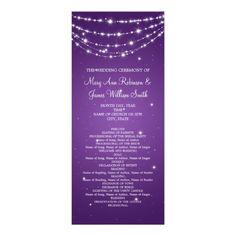 Elegant Wedding Program Sparkling Chain Purple 4x9.25 Paper Invitation Card