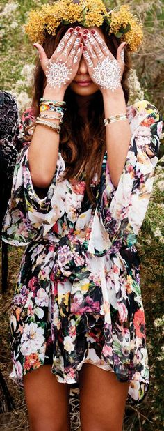 Feminine Bohemian floral dress modern hippie gypsy chic layered necklaces bangles stacked rings. For the BEST BoHo CHic fashion trends FOLLOW -- http://www.pinterest.com/happygolicky/the-best-boho-chic-fashion-bohemian-jewelry-gypsy-/ now