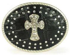Western Black Leather Clear Rhinestone Crystal Cross Oval Belt Buckle Silver #Uniklook