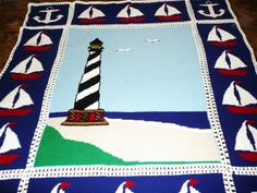 Nautical  Lighthouse  Sailboats and Anchors  by maltesedreamer, $350.00