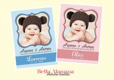 Photoshop Template - Cartoline nascita - Birth announcements - PSD
