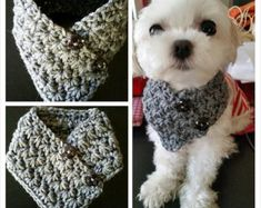 Crocheted Small Dog neck warmer, dog neck warmer, Puppy scarf fits most S or M dogs Crochet Dog Clothes, Crochet Dog Sweater, Pet Clothes, Chihuahua, Yorkie Poodle, Dog Clothes Patterns, Grey Dog, Crochet Scarves, Crocheted Scarf