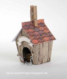"""Ein Haus für alle Fälle: Stampin' Up Framelits """"Zu Hause"""" : Hundehütte/ dog house with Stampin Up home sweet home dies"""