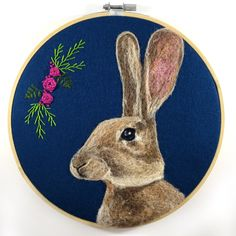 Cute wool painting of a rabbit with silk ribbon embroidered roses