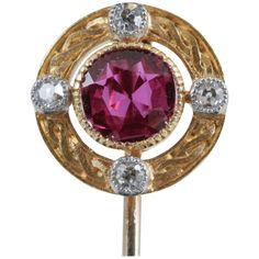 Late 19th Century Ruby Diamond Gold Mounted Tiepin | From a unique collection of vintage more objets d'art and vertu at https://www.1stdibs.com/jewelry/objets-dart-vertu/more-objets-dart-vertu/