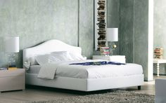 """""""Peonia"""" Bed by Flou , a wonderfully romantic bed. Head-board and base padded and upholstered with fabric, leather or Ecopelle covers, completely removable thanks to practical Velcro fasteners. Available with box-spring base Comfort, storage base, fixed base h 25 cm. or h 16 cm. and with electrical movements.  #Beds #Bedroom #Letto #InteriorDesign #HomeDecor #Design #Arredamento #Furnishings"""
