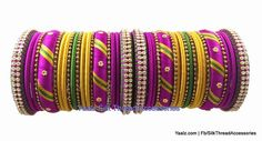 Yaalz Partywear Bangles Set In Pink, Green And Gold Colors