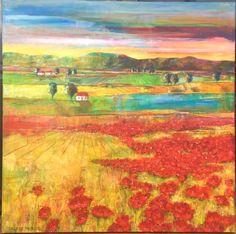 Landscapes : Poppy Fields Poppy Fields, Poppies, Landscapes, Painting, Art, Paisajes, Art Background, Scenery, Painting Art