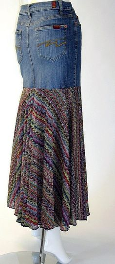 Long Denim Skirt, Yoked, Lined, Size 8-10 by brendaabdullah, via Flickr  @Chris Williams
