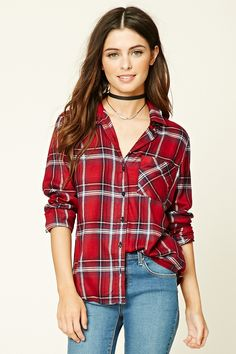 A woven tartan plaid shirt featuring a basic collar, button-down front, long cuff sleeves, and a left chest patch pocket.