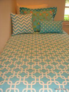 blue dorm room bedding