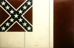 BLOOD STAINED BANNER (CONFEDERATE STATES OF AMERICA) oleo sobre lienzo (100 x 50) x 3