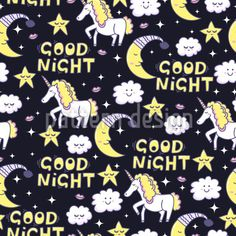 Good Night Unicorn - Magical pattern with unicorns, stars, clouds, lips and moons. Vector Pattern, Pattern Design, Repeating Patterns, Mythical Creatures, Good Night, Fairy Tales, Character Design, Unicorns, Clouds