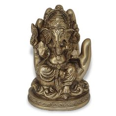 Hand Ganesha Hindu God Sculptures Handmade Brass Statues from India DakshCraft