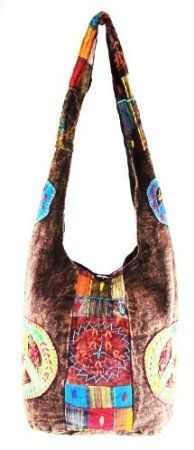 Amazon.com: Hobo Bohemian Hippie Handcrafted Peace Cut Patch Shoulder Sling Crossdody Gypsy Bag Purse Nepal By Shangrila Nook: Arts, Crafts & Sewing