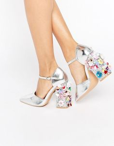 Image 1 ofDaisy Street Flower Detail Point Heeled Shoes